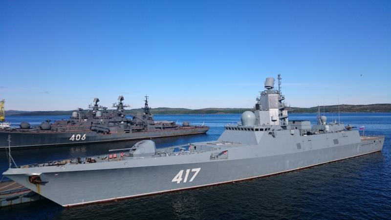 """Fragata del Proyecto 22350 """"Almirante Gorshkov"""" de la Armada Rusa."""