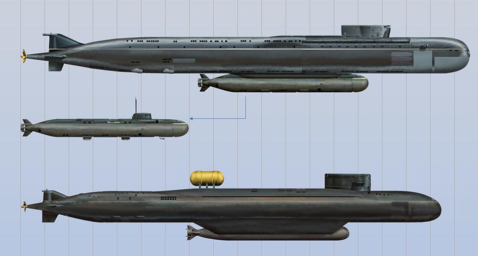 Infografía de los submarinos Belgorod, del minisubmarino Losharik (adosado al anterior) y del Podmoskovye. Rusia mantiene ladel minisub flota de submarinos espía y de cometidos especiales más amplia de mundo.