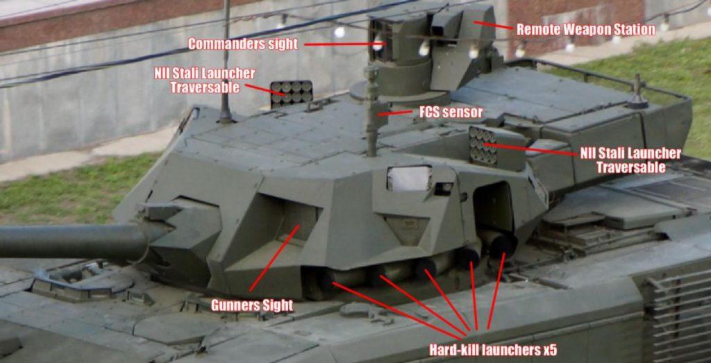 """""""Armata"""" dotado de 2x5 lanzacohetes defensivos del completo sistema """"Afghani"""" y 2 baterías de lanza-artificios """"NII Stali"""" en soportes orientables"""