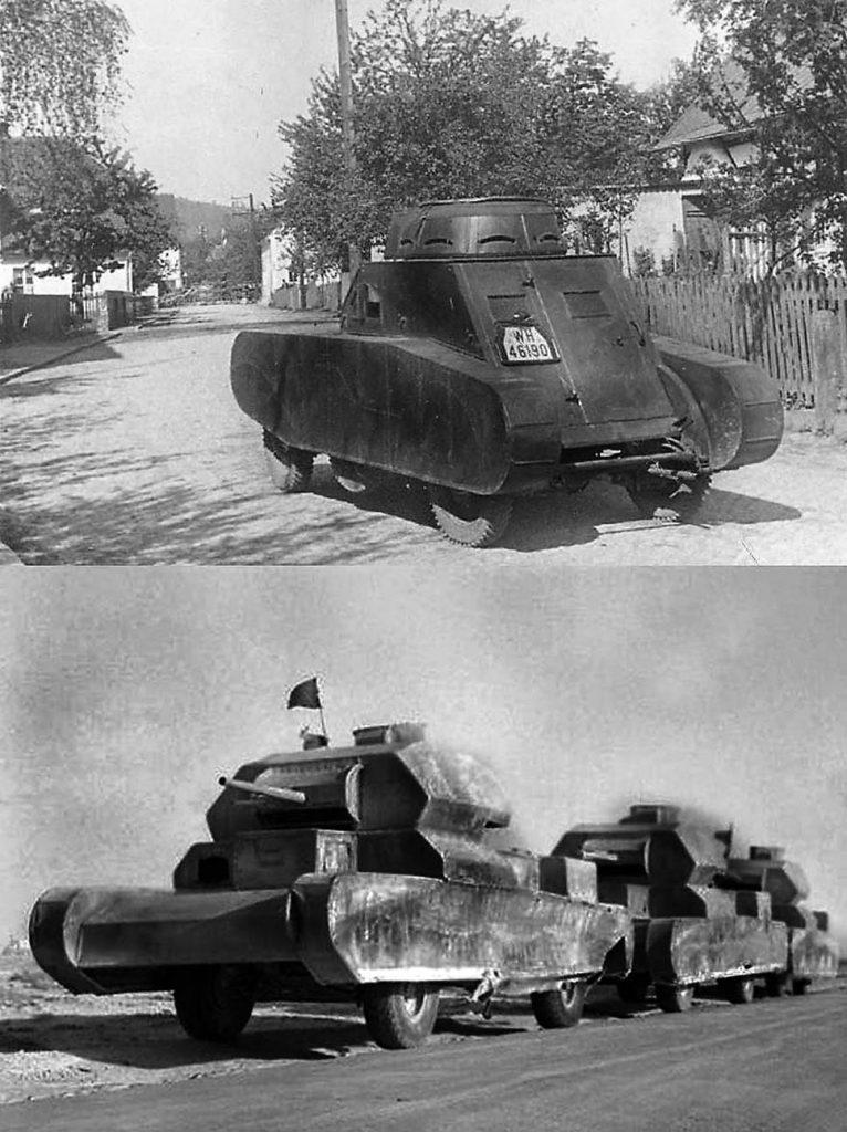 Los carros y blindados simulados son usados desde antes de la SGM