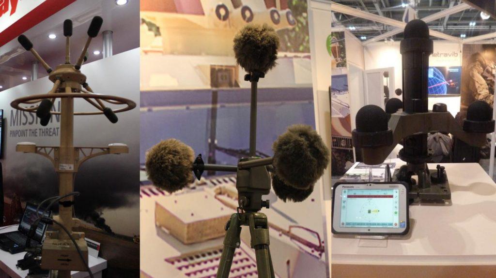 """Detectores de orígenes de fuego acústicos """"Boomerang"""" (izquierda) y dos modelos """"PILARw"""" de la firma francesa Metrovib"""