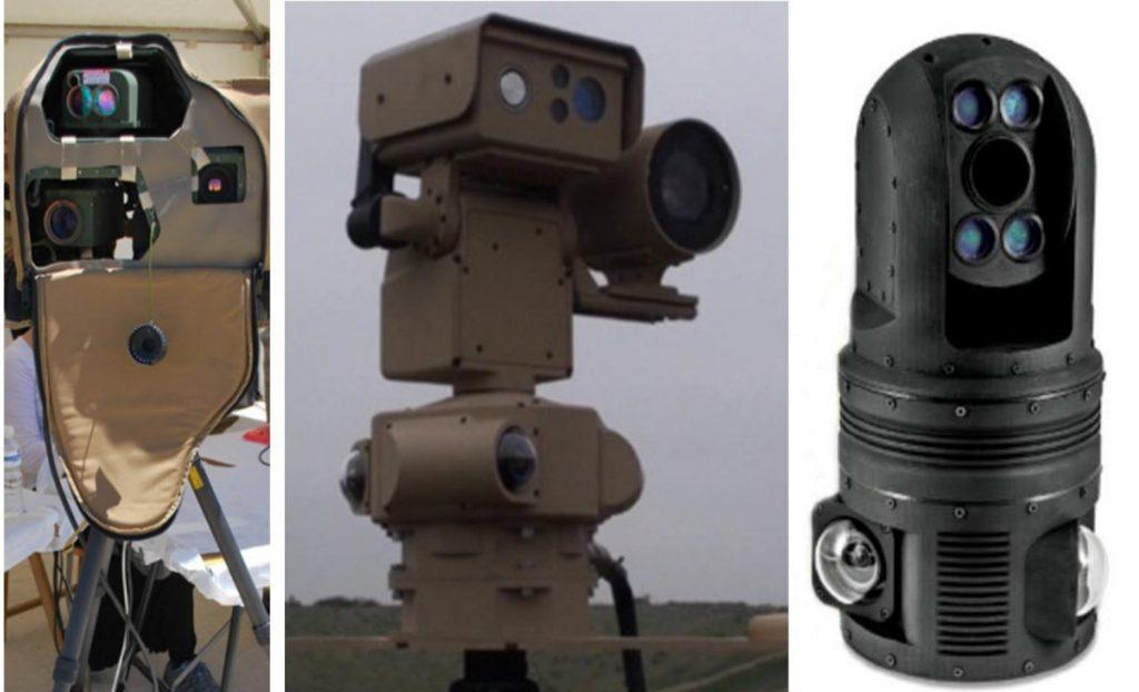 """Detectores electroópticos """"SpotLite (P)"""" israelí (izquierda) y norteamericanos de tecnología láser """"Beam 100"""" y """"Beam 200"""", que detectan el objetivo antes de efectuar el disparo"""