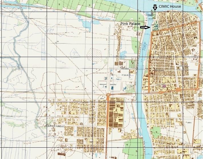 Mapa de la ciudad de Al Amarah, con la CIMIC House y el Pink Palace