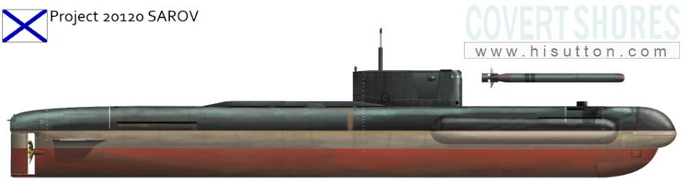 Infografía del submarino de cometidos especiales Sarov