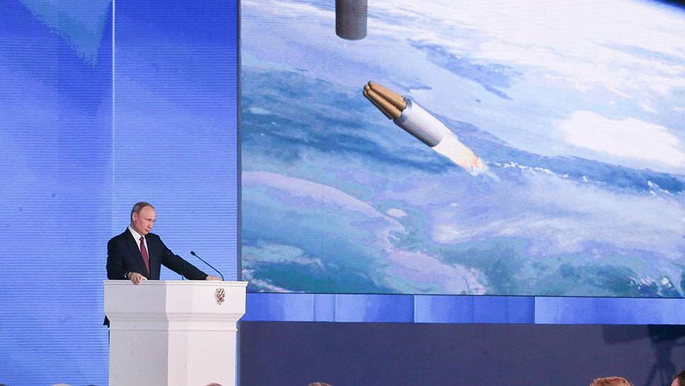 El Presidente de la Federación Rusa, Vladimir Putin, en la comparecencia pública en la que anunció no solo la existencia del Status-6, sino de un total de seis nuevos sistemas de armas destinados a burlar los sistemas defensivos de los Estados Unidos y a garantizar la disuasión por parte de Rusia.