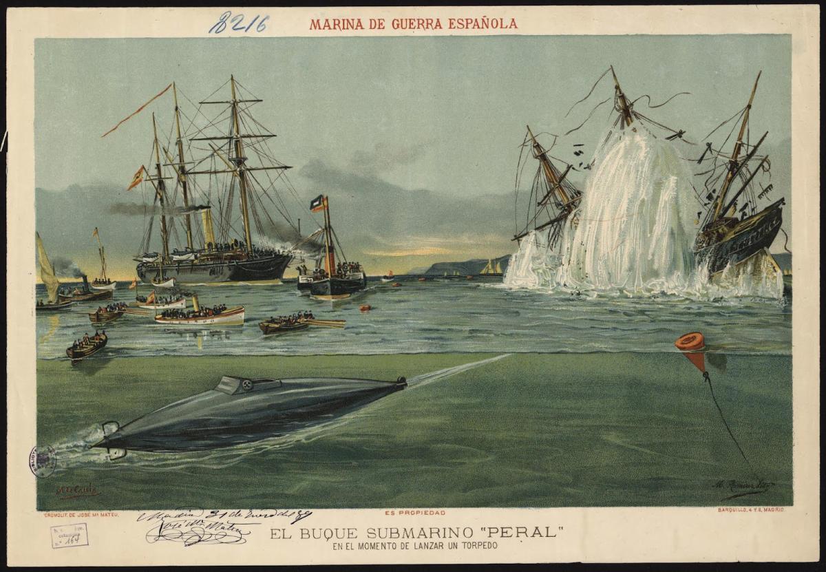 1889 El buque submarino Peral en el momento de lanzar un torpedo - La  Opinión de Murcia